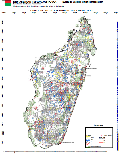 Mining zones in Madagascar, 2015