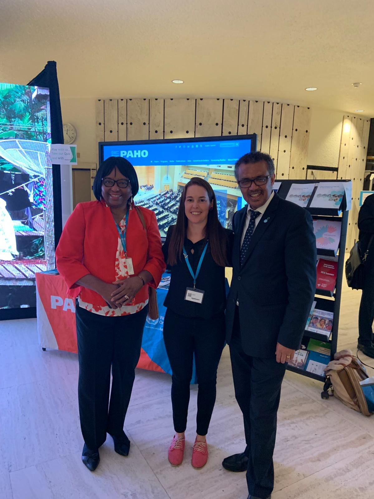 Alison Macintyre, Technical Lead – Health, WaterAid Australia, with Dr Tedros Adhanom Ghebreyesus, WHO Director-General at the World Health Assembly