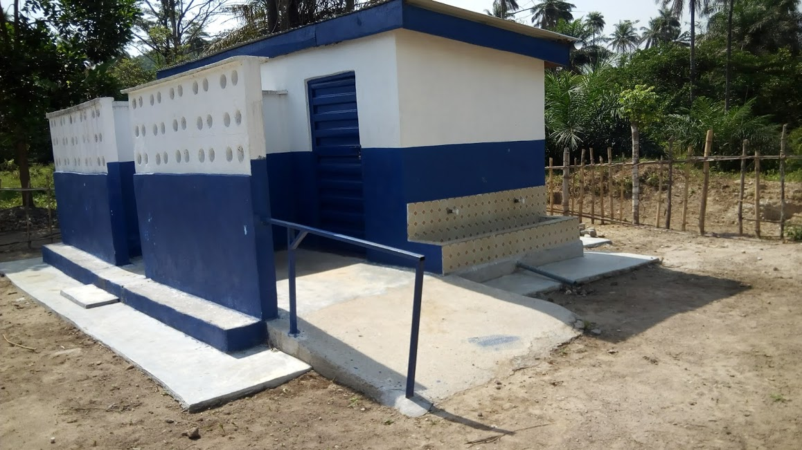 An accessible school latrine block, built by WaterAid, in Longebu, Pujehun District, Sierra Leone.