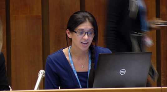 Danielle Zielinski, Health and WASH Officer at WaterAid America, making a statement at the World Health Assembly