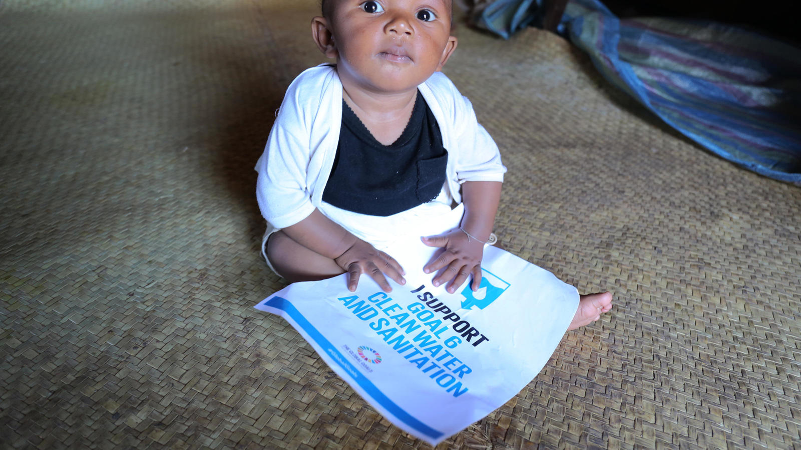 Colombe with Global Goal number six in Vakinankaratra region, Madagascar. September 2015.