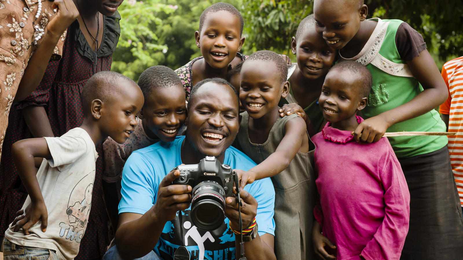 Voices from the Field officer James behind the scenes in Uganda