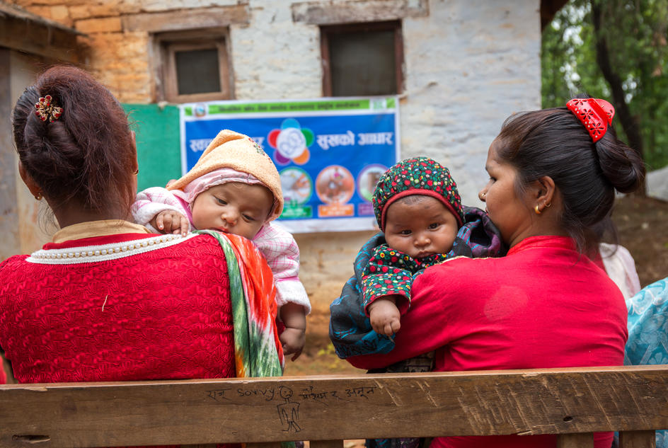 Mother with their babies attending the hygiene session at District Hospital, Nepal.