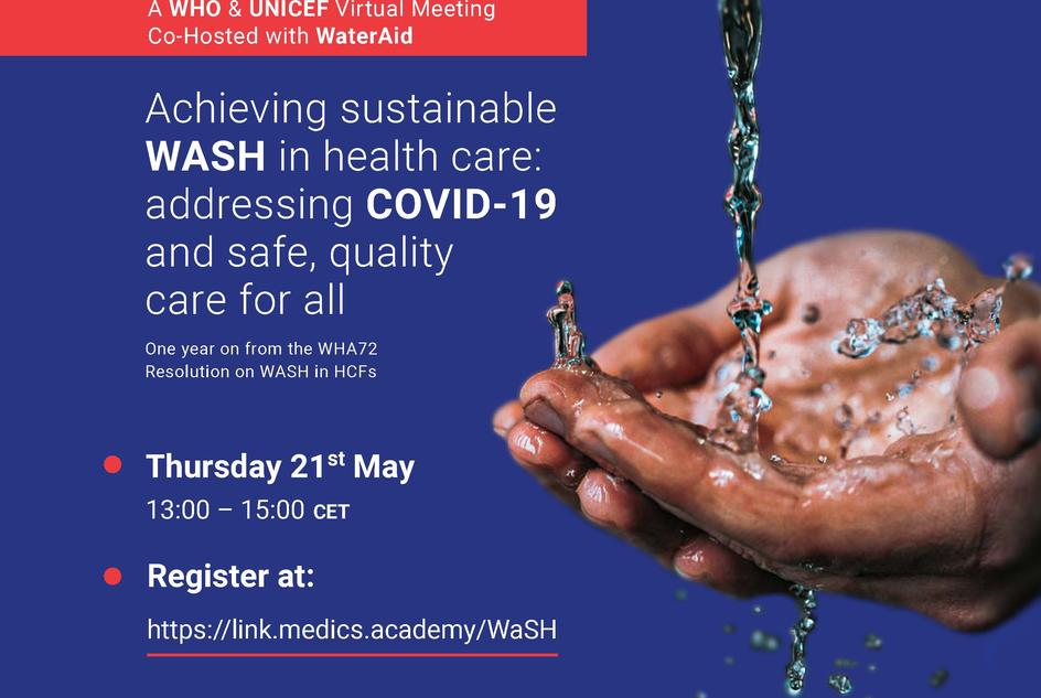 A flyer showing details of the World Health Assembly side event hosted by WHO, UNICEF and WaterAid on 21 May 2020.