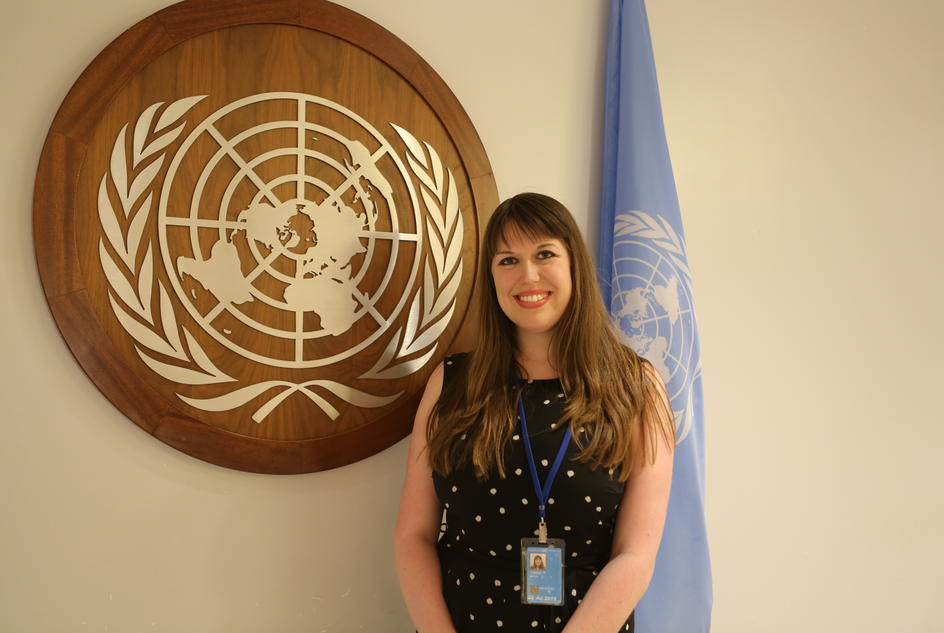 Bethan Twigg, UK Advocacy Coordinator, at the UN in New York.