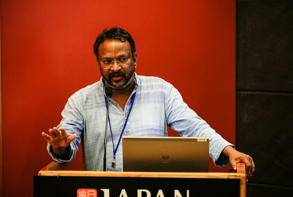 Bezwada Wilson, of Safai Karmachari Andolan, speaking at our side event on a human rights-based approach to decent work and reducing inequalities at HLPF 2019.