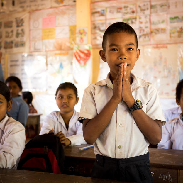 Ros, 12, was given hygiene education in school and told his family what he had learnt at primary school, Cambodia.