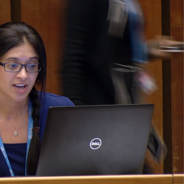 Danielle Zielinski, our Health and WASH Officer at WaterAid America, give a statement at the World Health Assembly.