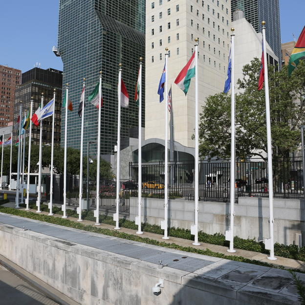 Flags flying at the UN in New York.