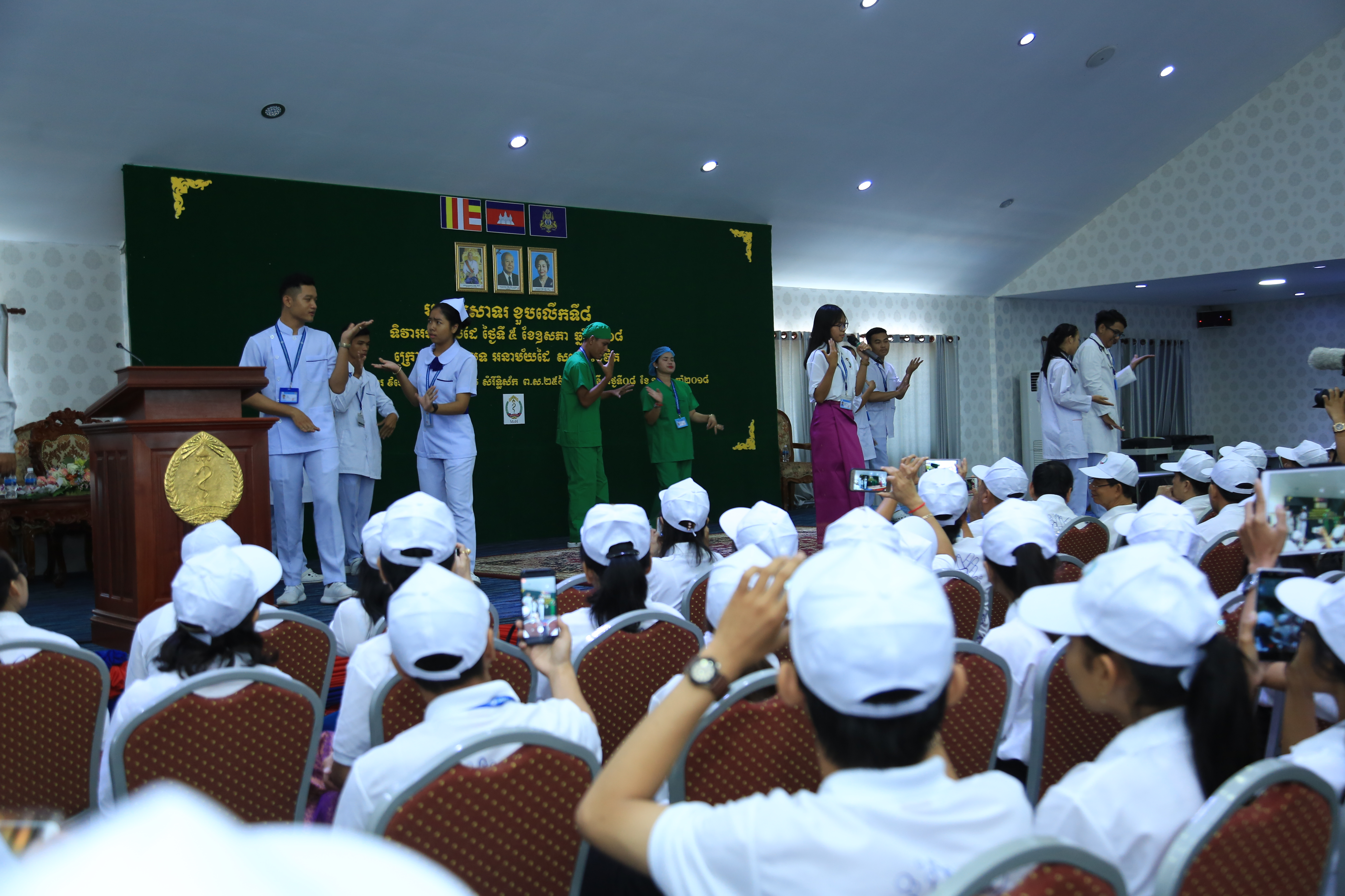 UHS Sabay group performing the hand hygiene song on National Hand Hygiene Day at the Ministry of Health