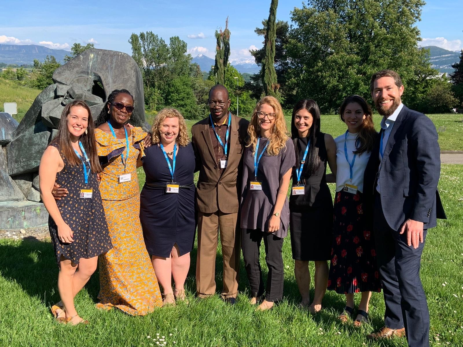 WaterAid delegates outside at the World Health Assembly 2019